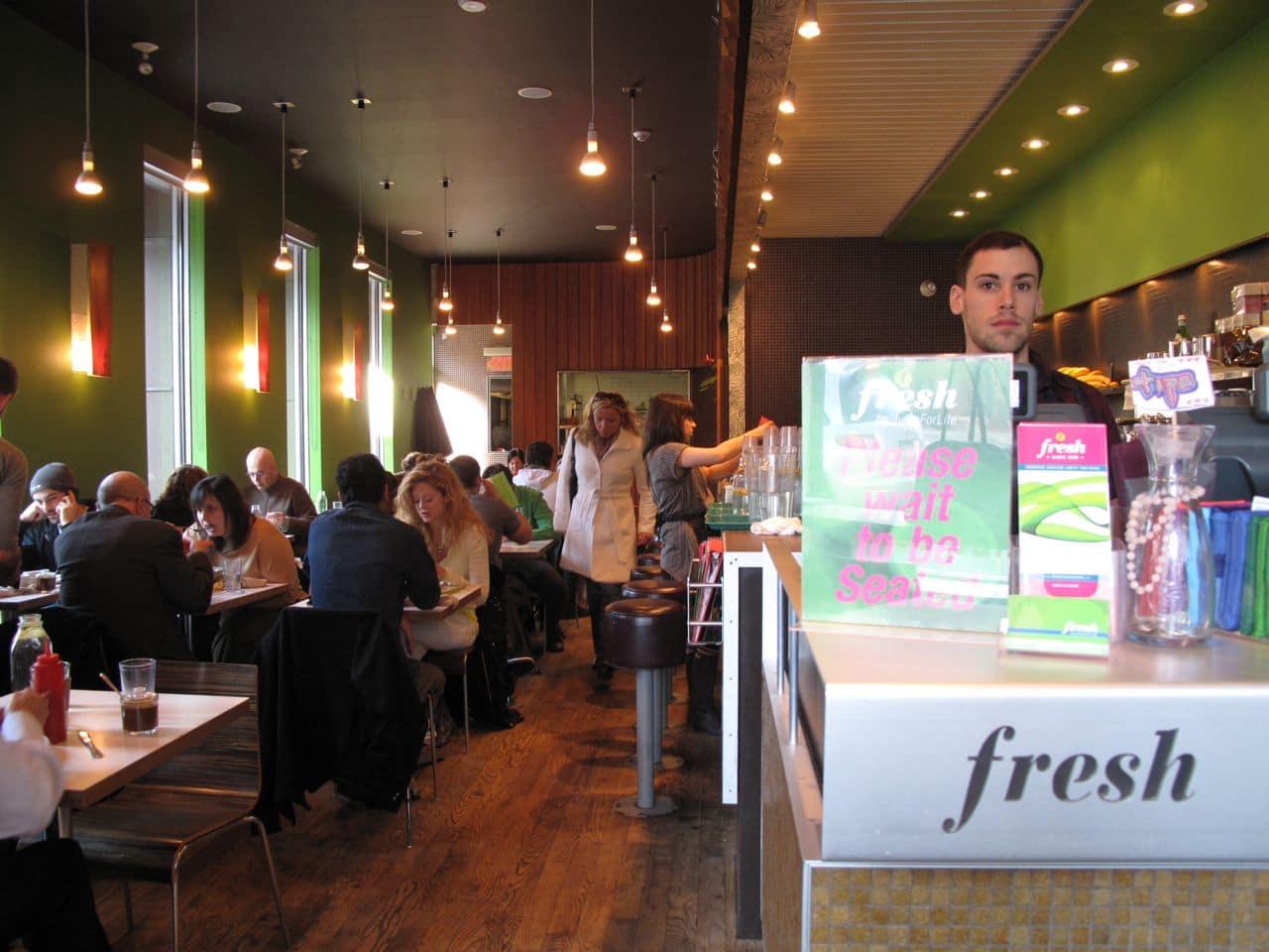 The dining room at Fresh Restaurant Toronto.