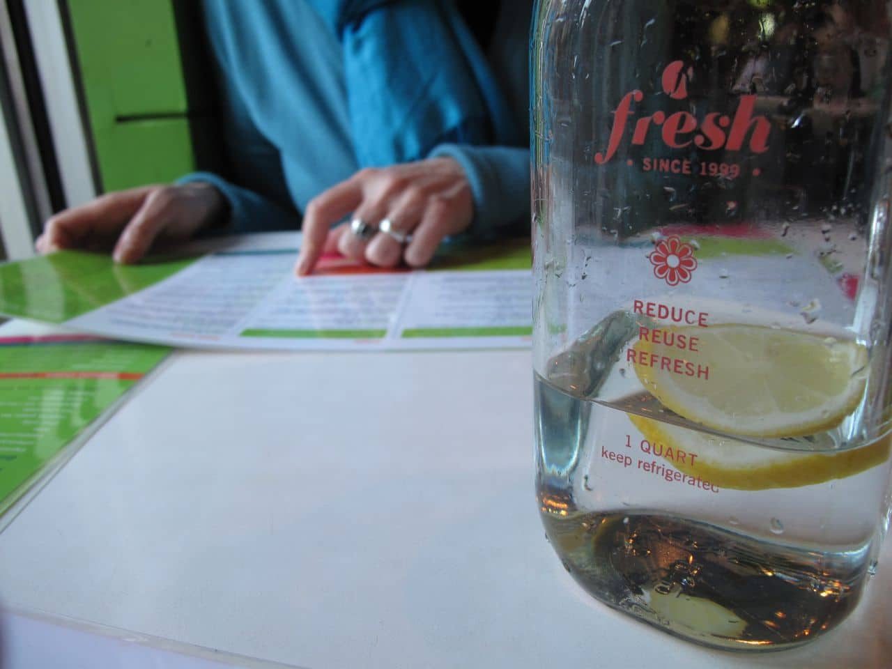 Perusing the menu at Fresh Restaurant Toronto.