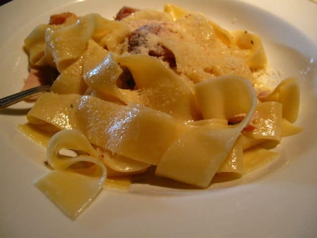 Pappardelle with Smoked Chicken at Pazzo Stratford.