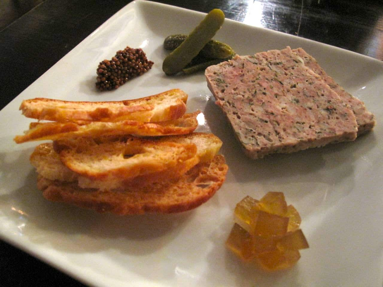 Pork Terrine with pickled watermelon rind at Beast Restaurant Toronto.