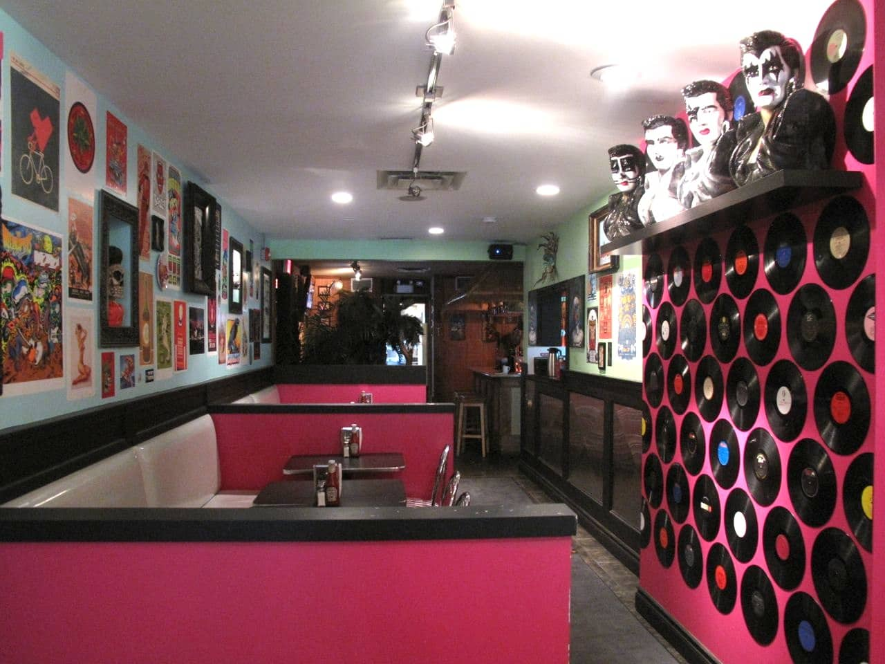 The retro diner dining room at The Early Bird London.