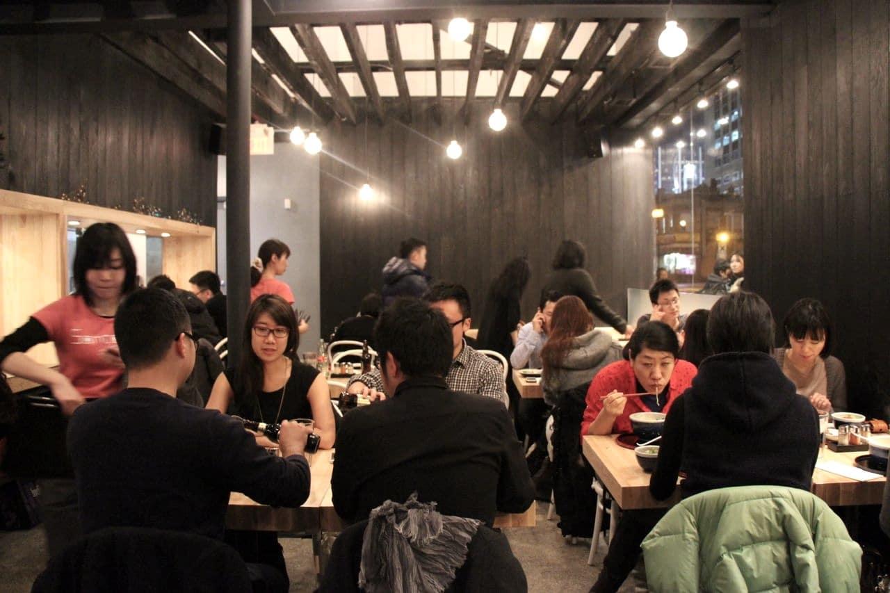 The dining room at Santouka Ramen Toronto.