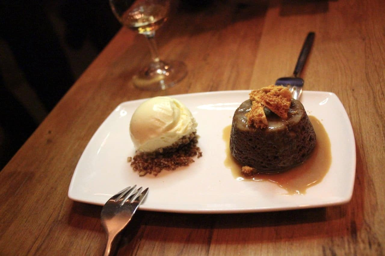 Finish your meal by sharing a plate of Warm Sticky Toffee Pudding.