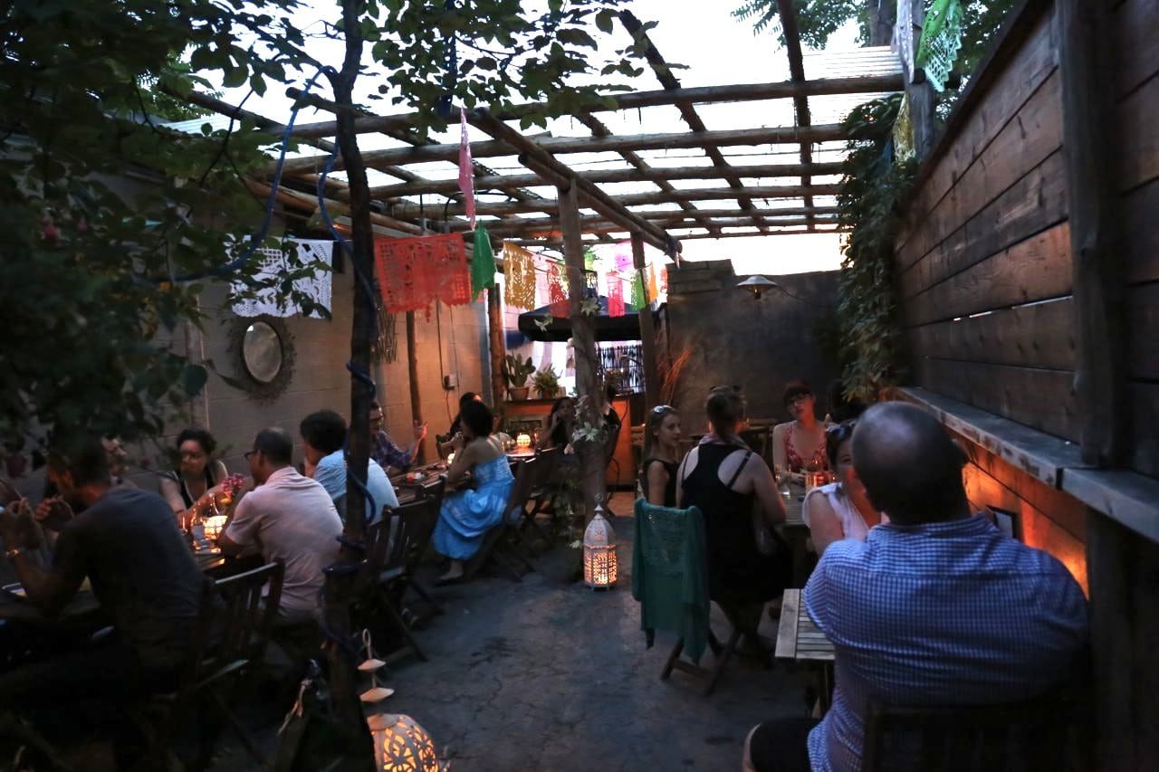 The hidden back patio at Resposado Toronto on Ossington.