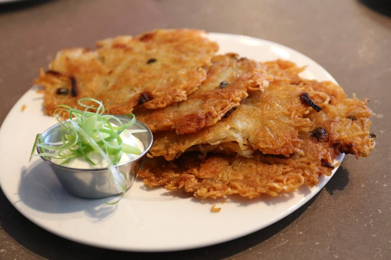 Potato Latkes at Grumans Deli.