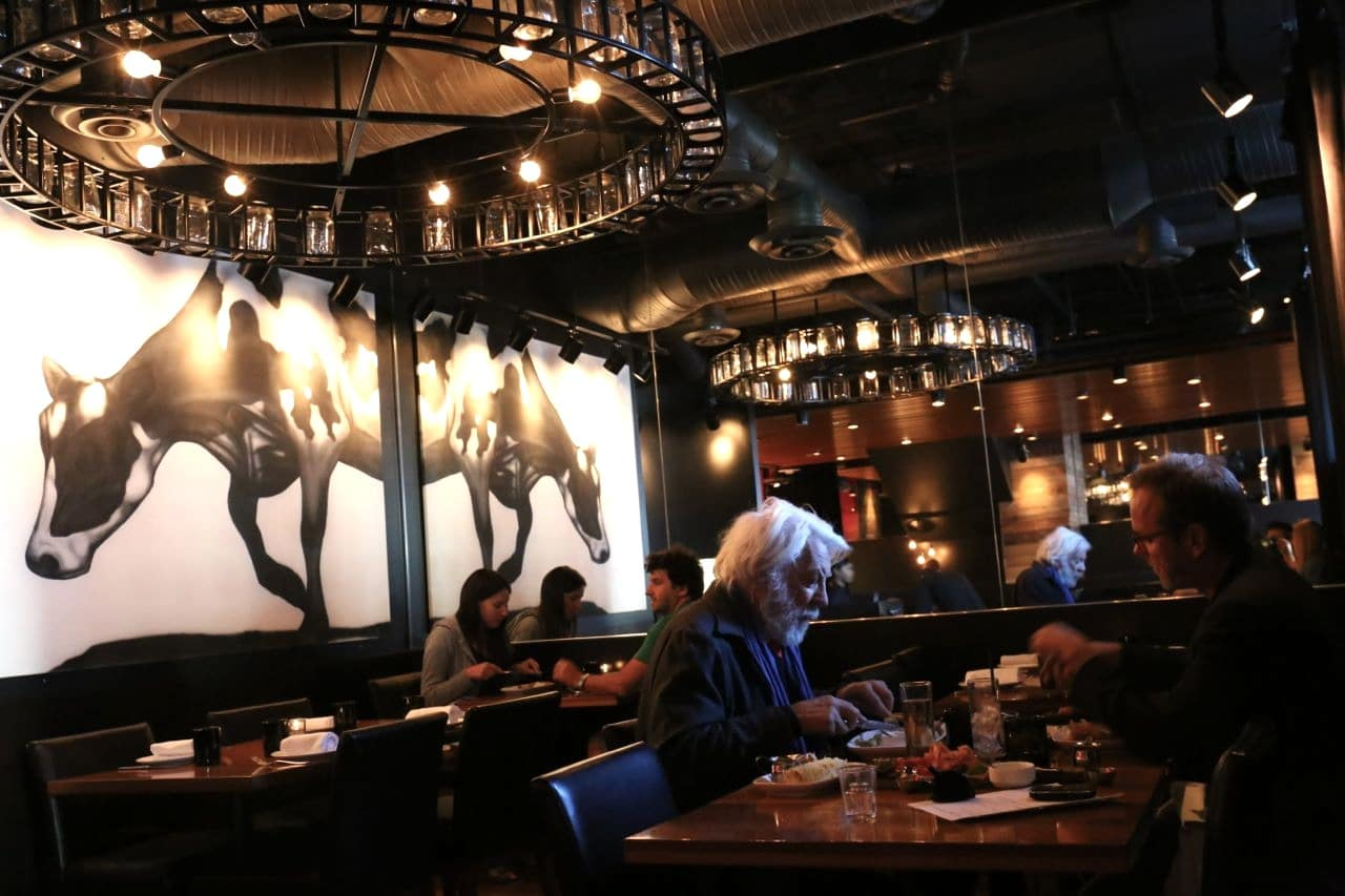 Actors Donald and Kiefer Sutherland enjoy a father-son dinner at Charcut Calgary.