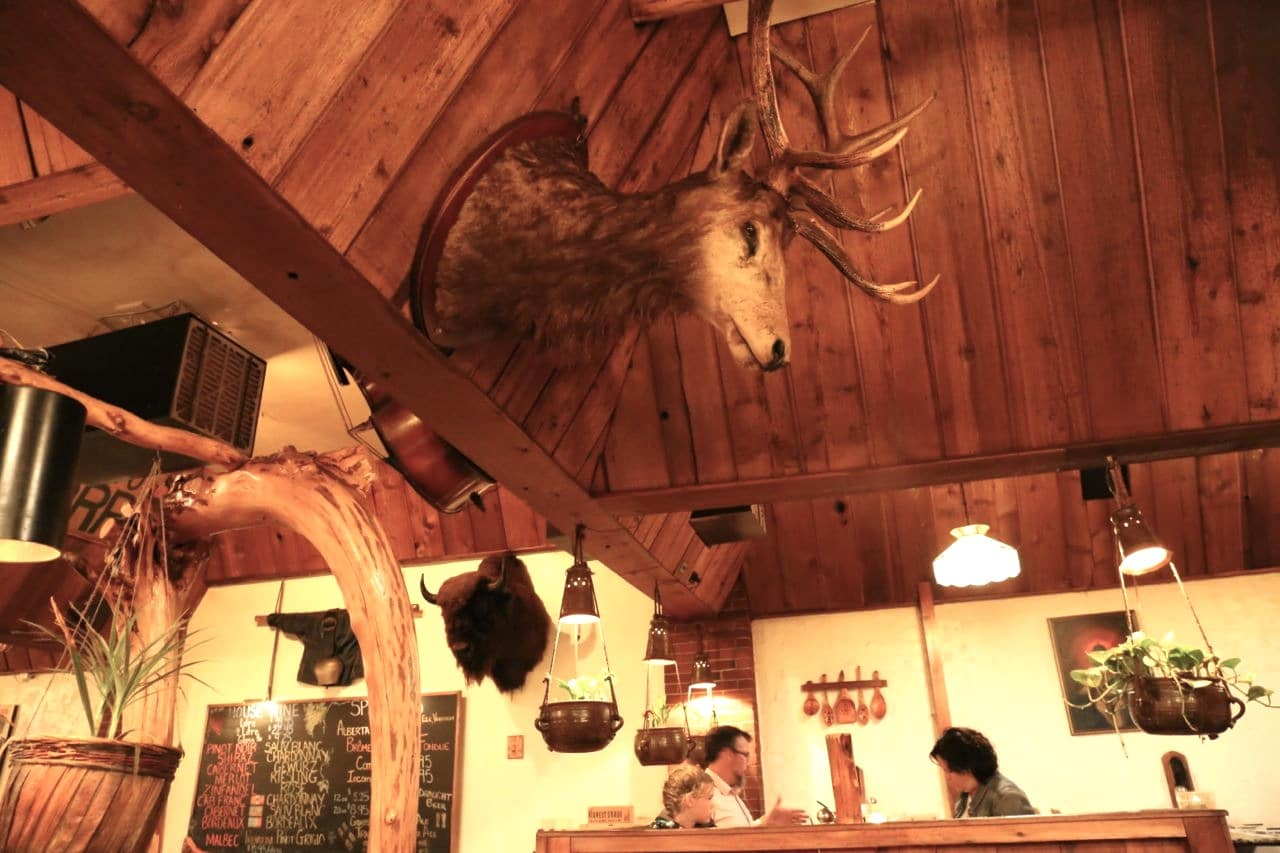 A Canadian Rocky Mountain interior found at Grizzly House Banff.
