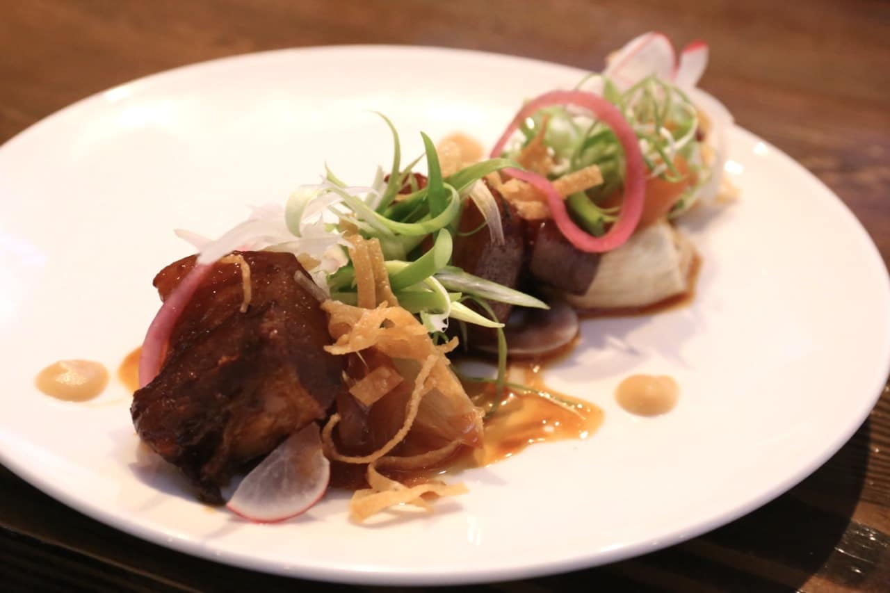 Kakuni: soy, maple syrup, brown sugar braised pork belly, braised apple and roasted onion.