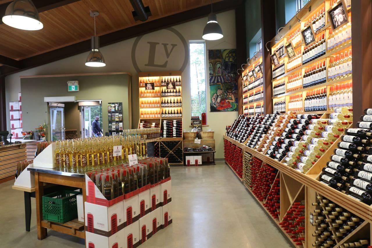 Nova Scotia's best wine bottles on show at Luckett Vineyard's retail shop.