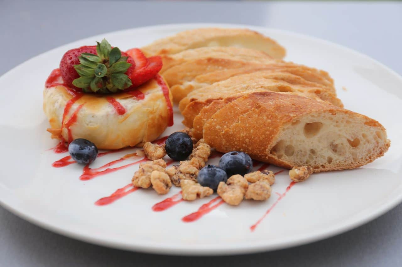 Baked Brie with candied walnuts and fruit chutney at Crash Pad Bistro.