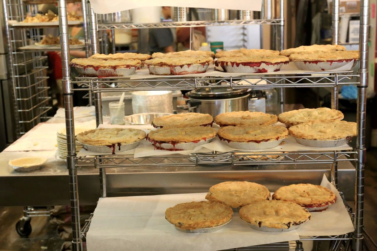 Freshly baked savoury and sweet pies at Shuswap Pie Company.