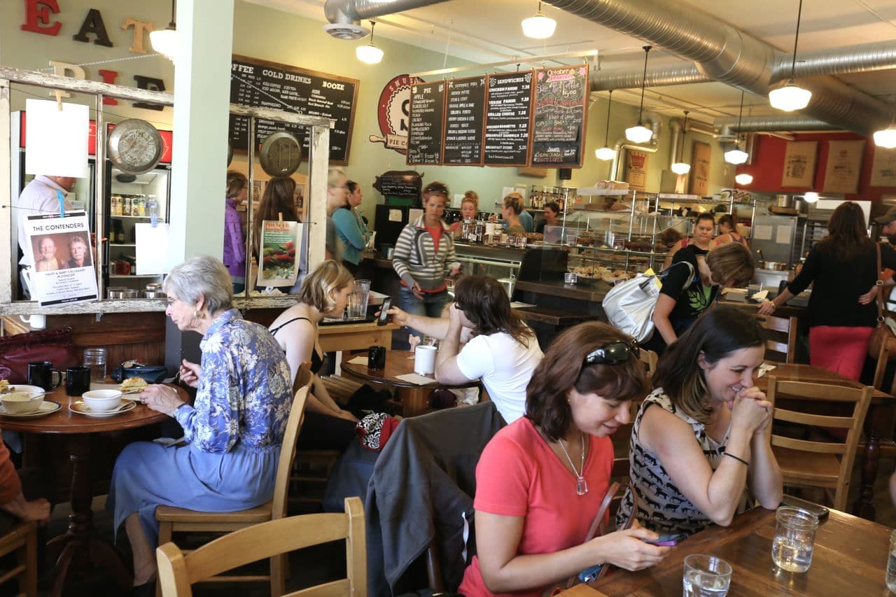 The bustling dining room at Shuswap Pie Company.