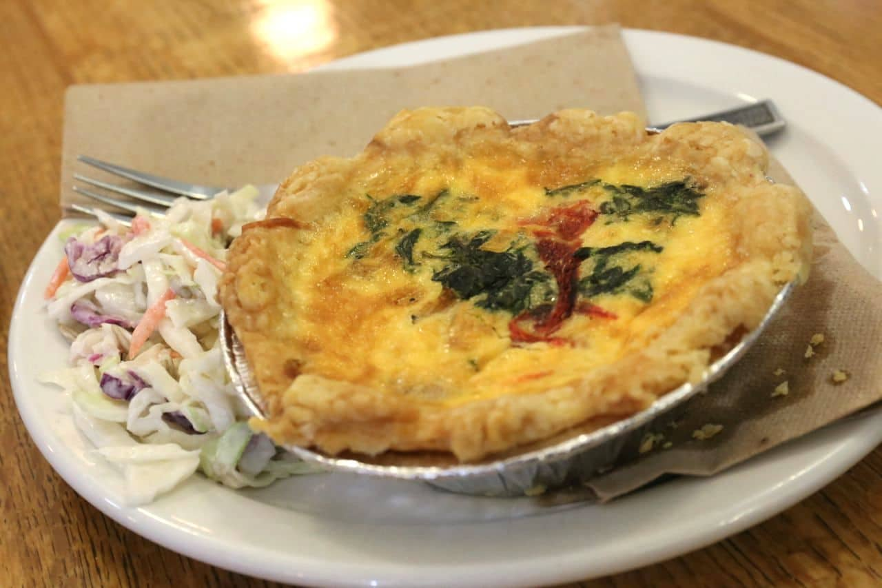 Savoury quiche and salad at Shuswap Pie Company.