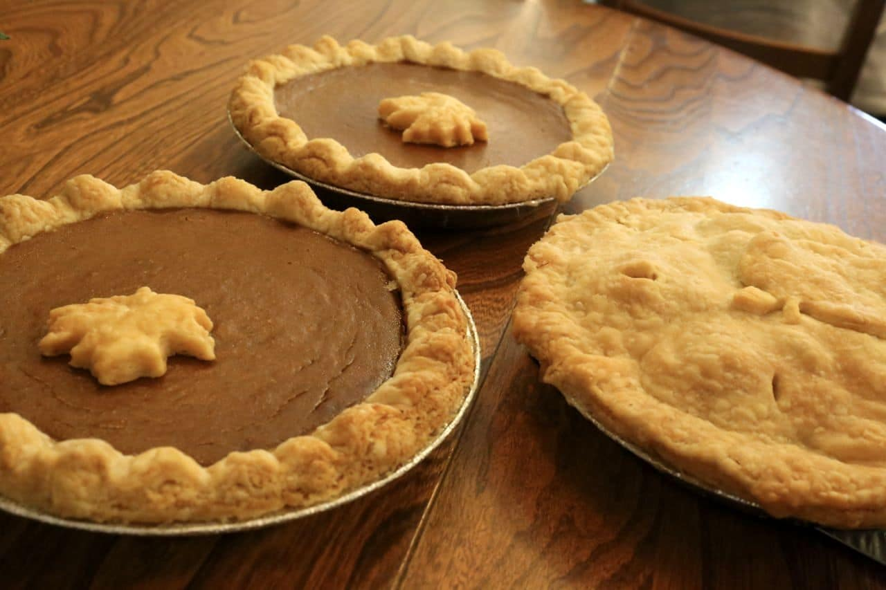 A selection of sweet pies are freshly made every day.