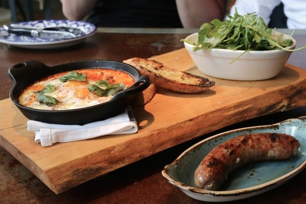 Eggs, sausage and salad at Taverna Mercatto's brunch.