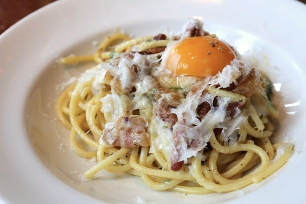Brunch inspired Carbonara at Taverna Mercatto in Toronto.