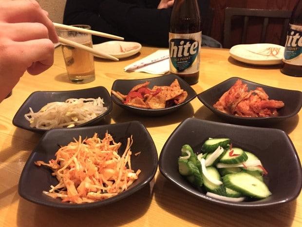Banchan at Korean Village Restaurant.