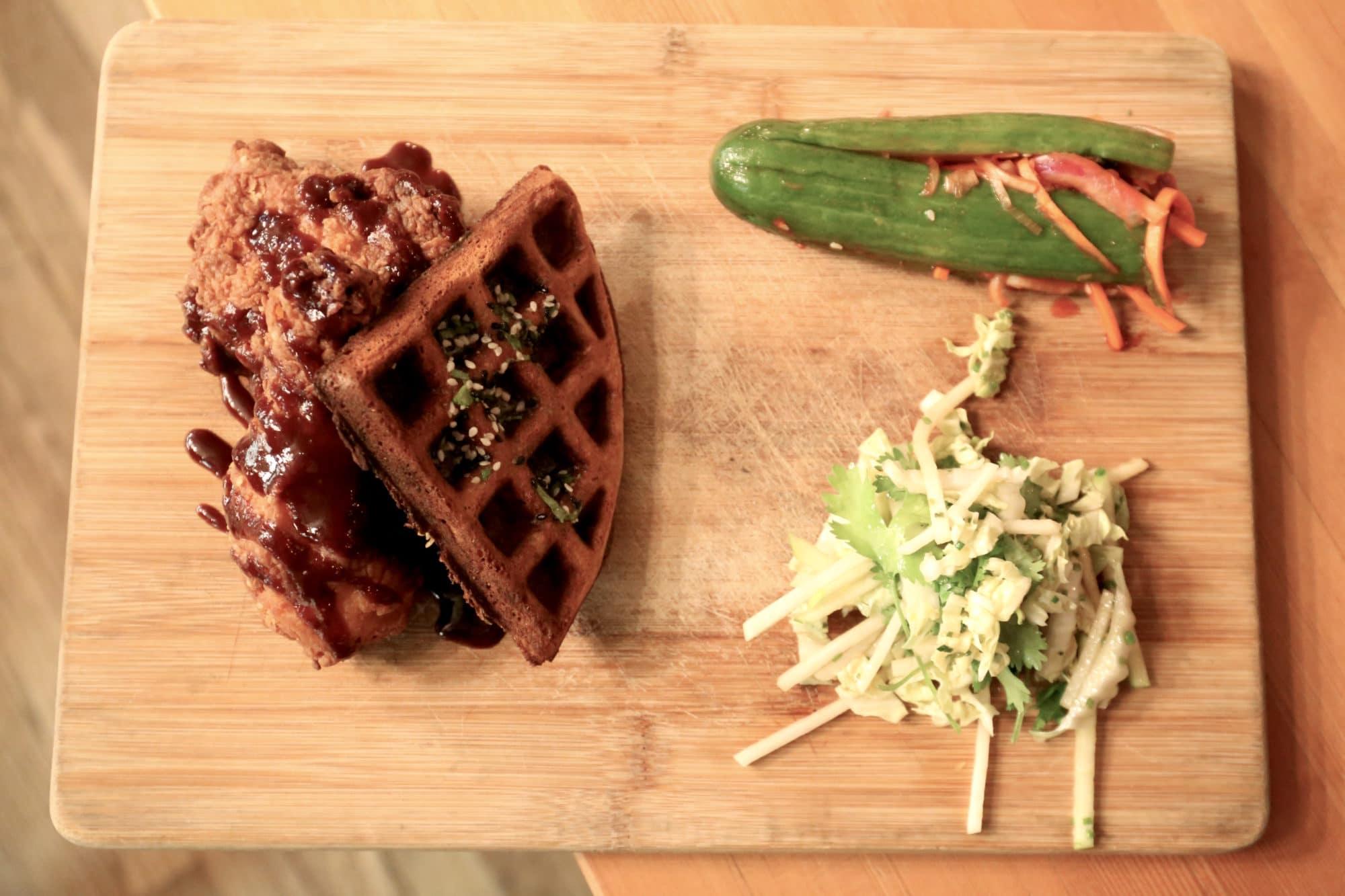 Ayden Saskatoon: Korean Fried Chicken with green onion waffle, cucumber kimchi, kohlrabi and asian pear slaw