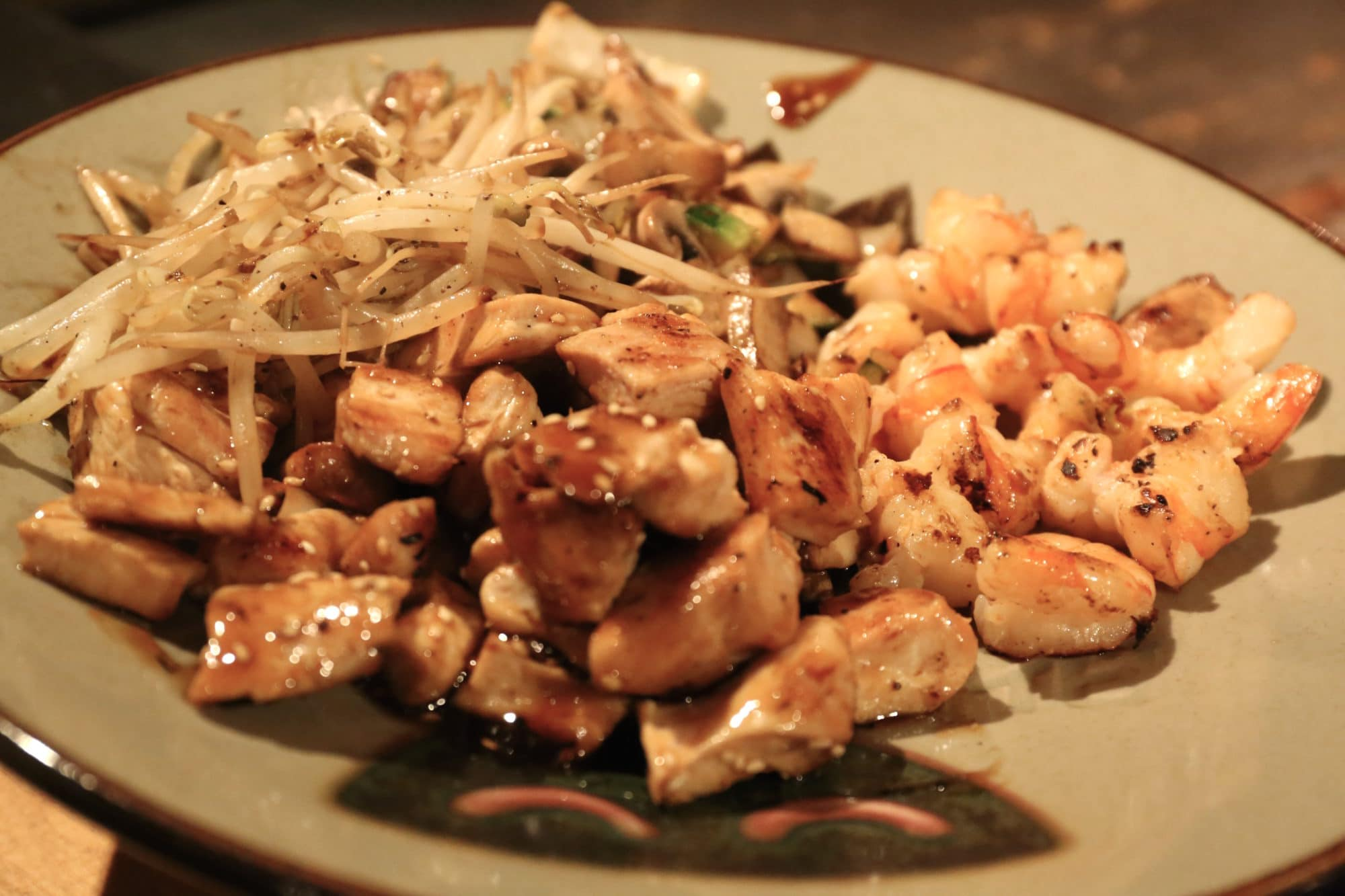 Teriyaki Chicken & Shrimp served with bean sprouts at Benihana