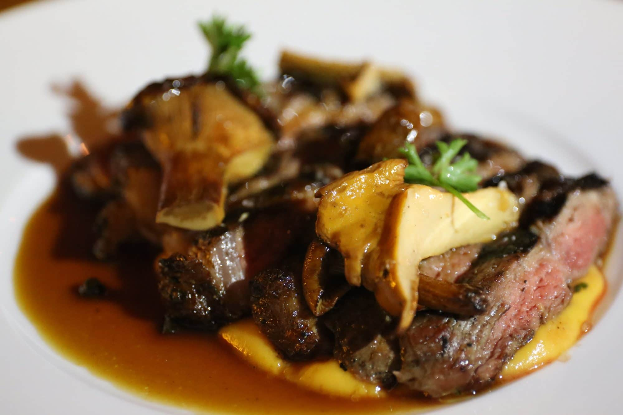 Carne y Camote steak with sweet potato puree and mushrooms.