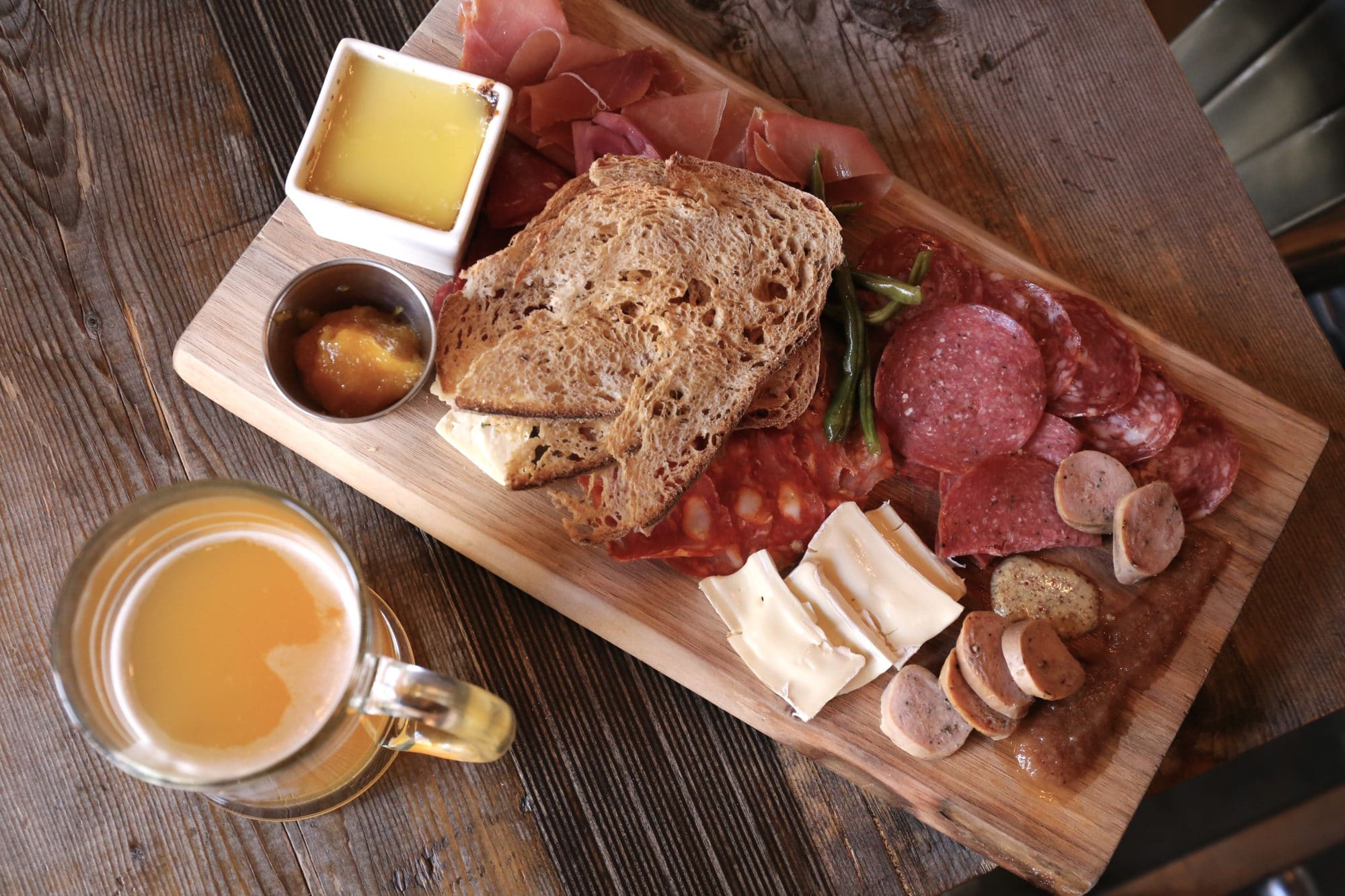 Enjoy a Charcuterie & Cheese Board with a beer at Abe Erb Waterloo.