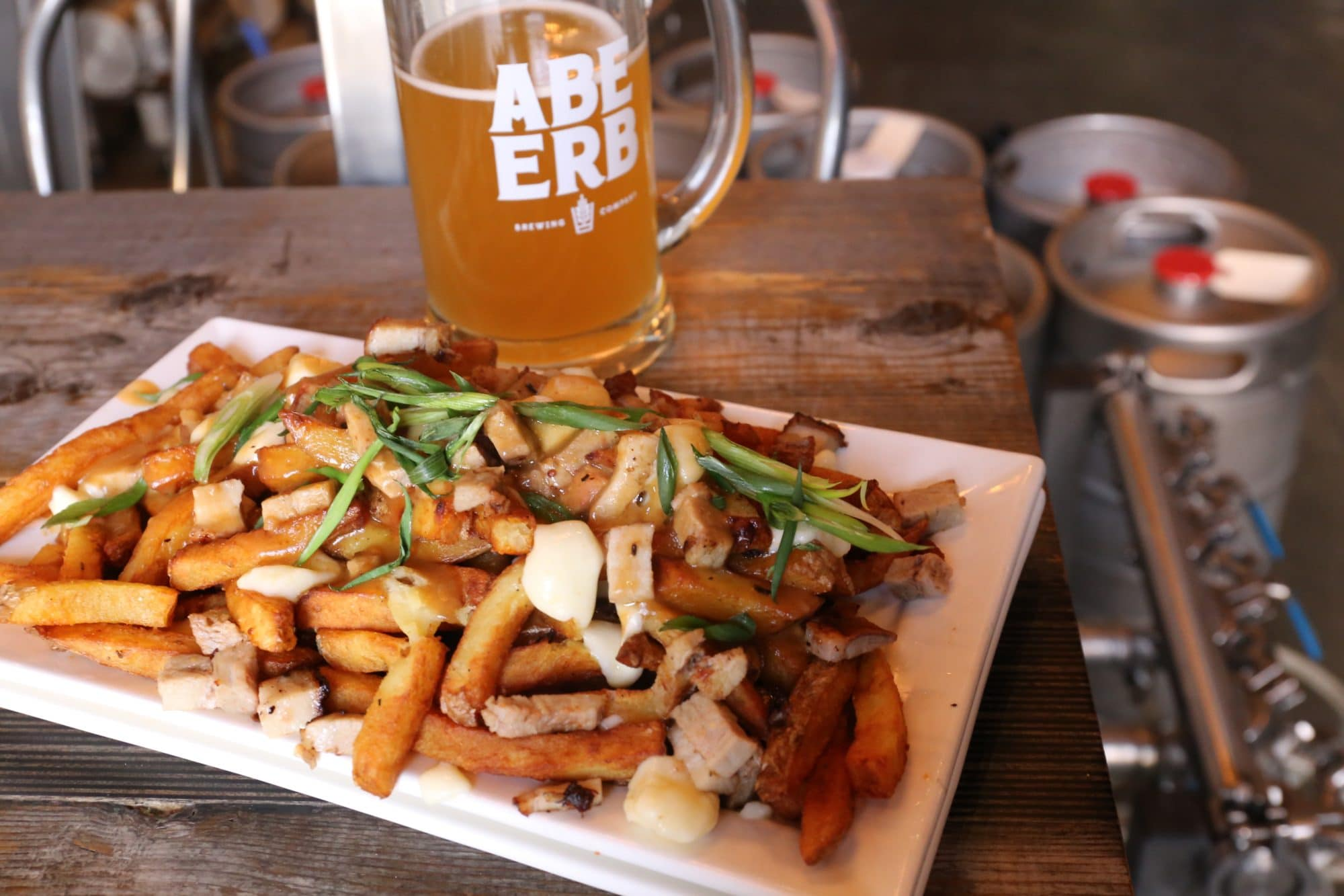 Abe Erb Waterloo: Smoked Poutine paired with a pint of freshly brewed craft beer.