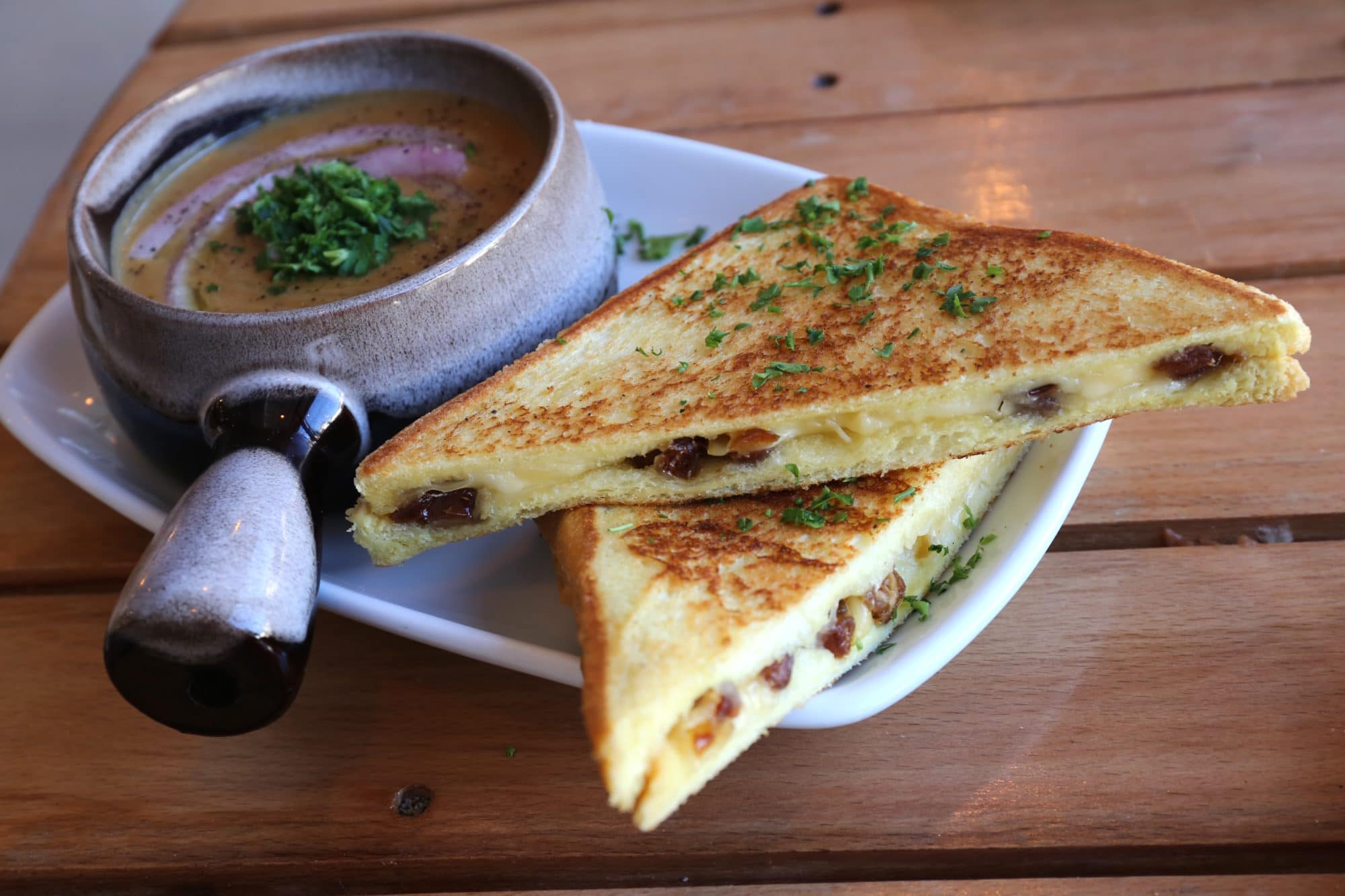 Date Grilled Cheese with Lentil Soup at Maha's Toronto brunch.