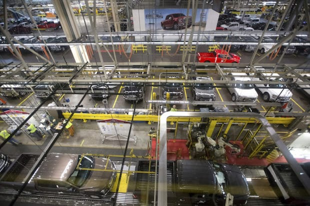 View from catwalk inside Ford Rouge Factory Tour