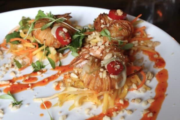 Spicy jerk shrimp at The Good Son Toronto.