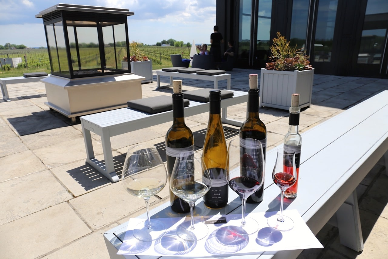 Enjoy a wine tasting on the chic outdoor patio at Stratus Vineyards.