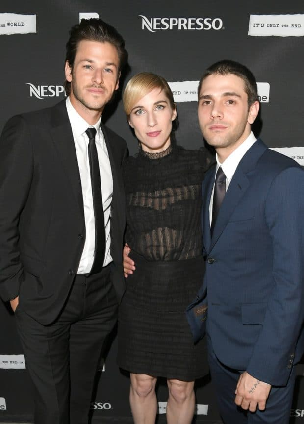 "TORONTO, ON - SEPTEMBER 11: Actor Gaspard Ulliel, producer Nancy Grant, and writer/director Xavier Dolan attends the official after-party for ""It's Only The End Of The World"" presented by Nespresso during the 2016 Toronto International Film Festival at FIGO on September 11, 2016 in Toronto, Canada. (Photo by George Pimentel/Getty Images for The Mint Agency)"