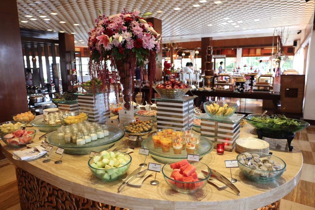 Breakfast buffet at St Regis Bali's Boneka Restaurant.