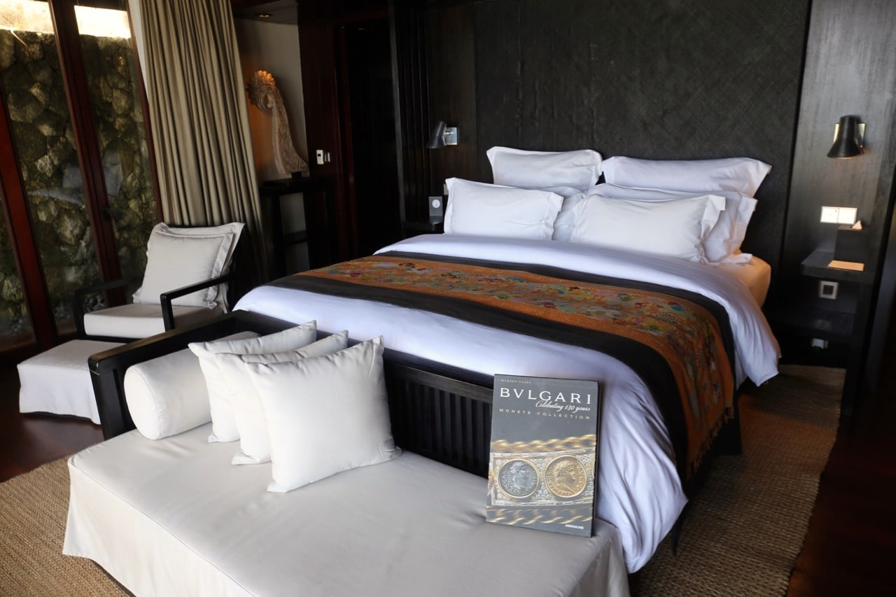 Luxurious bedroom inside a Bulgari Resort Bali villa.
