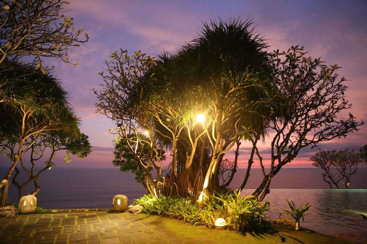 Romantic sunset view at Bulgari Resort Bali.
