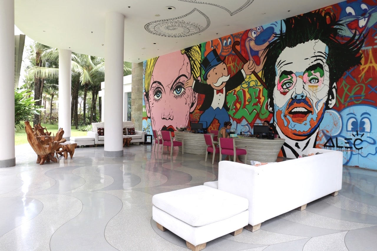 Pop art adorns the W Bali Resort's lobby in trendy Seminyak.