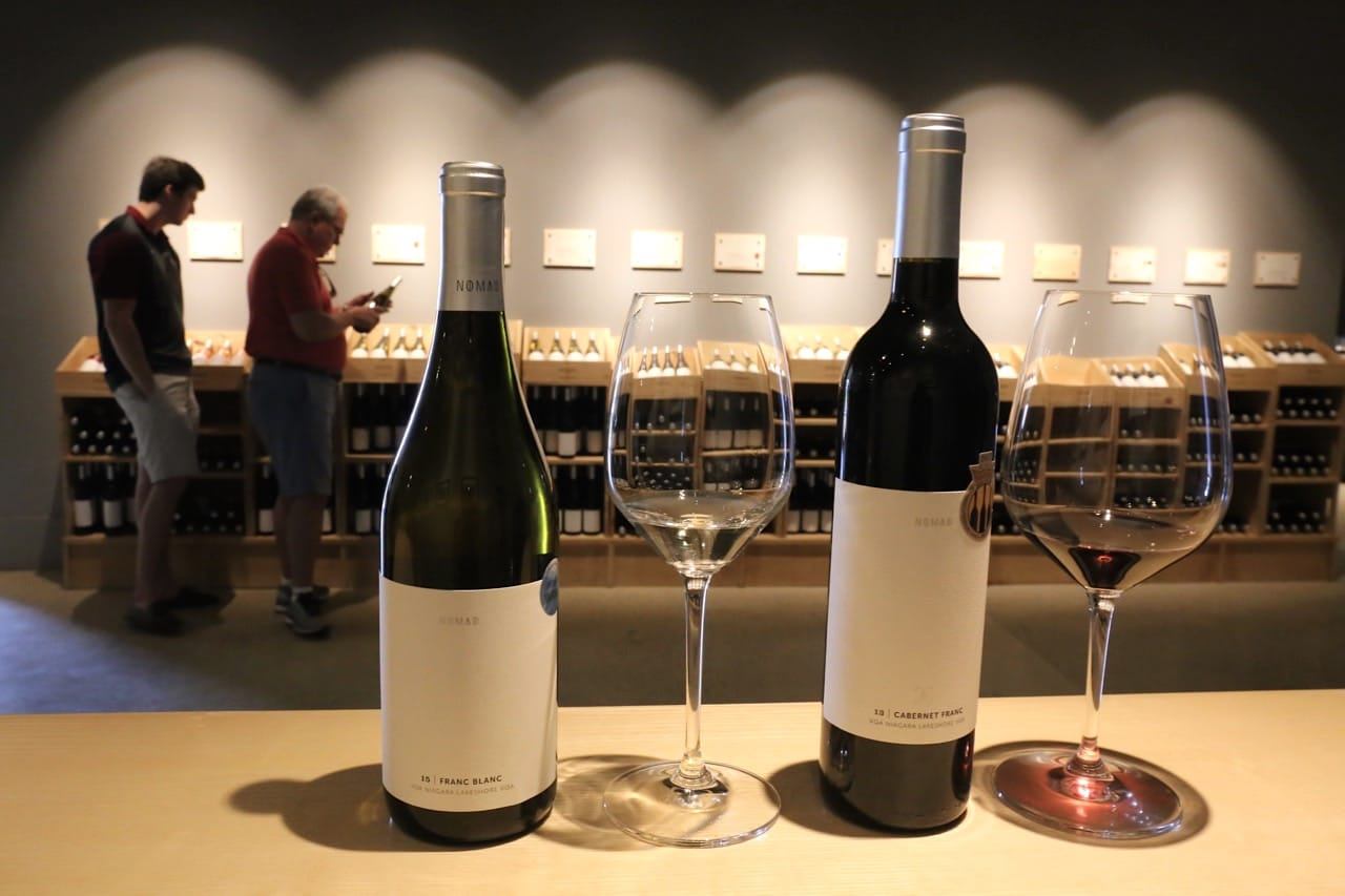 Sample fine wines at Hinterbrook Winery's tasting bar.