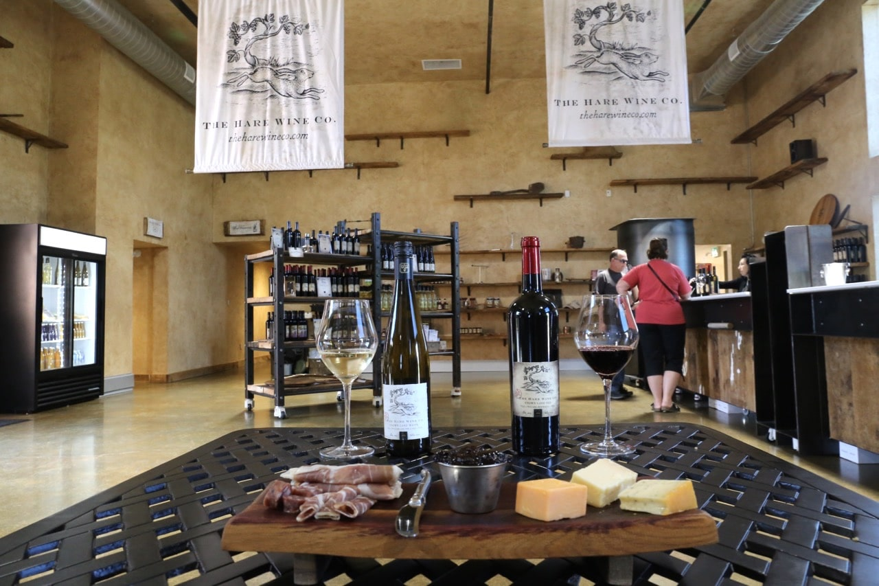 Enjoy a cheese and charcuterie board with fine wine at Hare Wine Co.