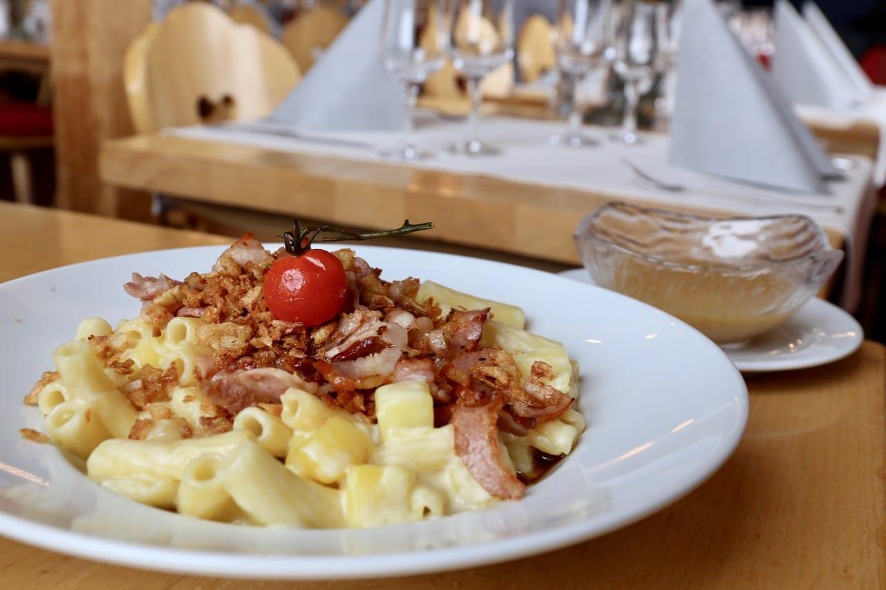 Alplermagronen is a famous Swiss pasta dish popular in winter.