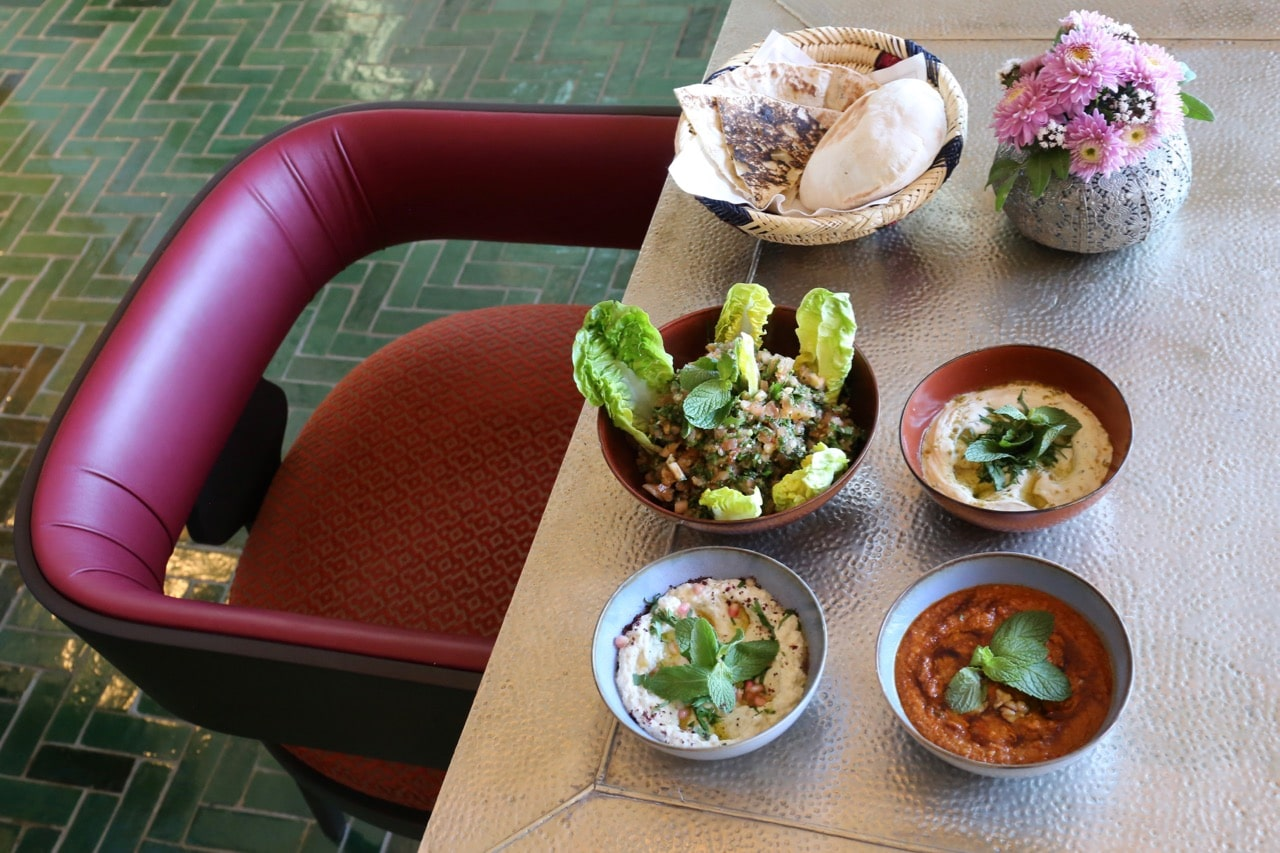 Middle Eastern dishes are served at Burgenstock Resort's Sharq Oriental dining room.