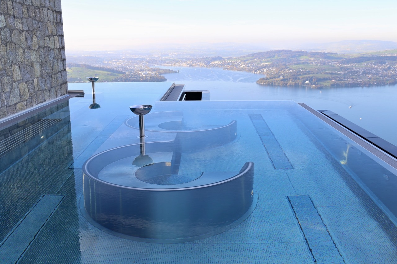 The best views at Burgenstock Resort are enjoyed from the spa's infinity pool.