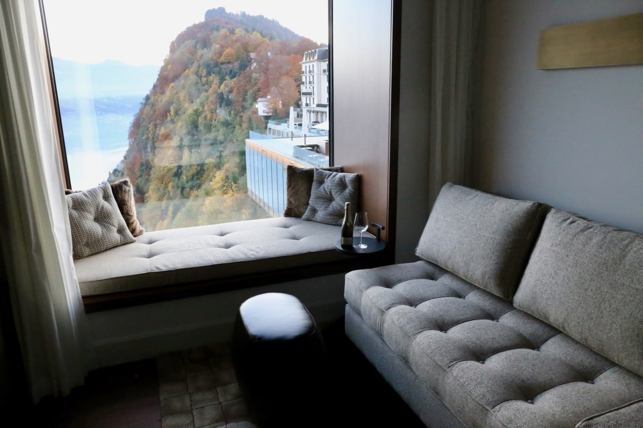 A scenic view from one of Burgenstock Resort's luxury suites.