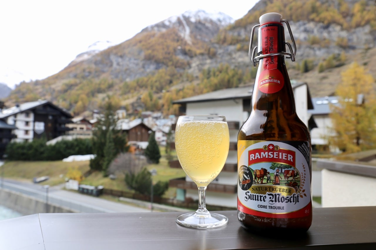 Enjoy sipping Swiss Cider with a view of the alps in Switzerland.