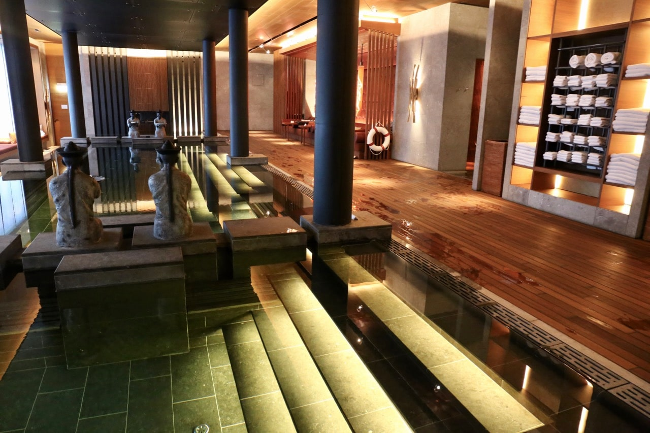 The indoor pool at Chedi Andermatt's luxurious spa.