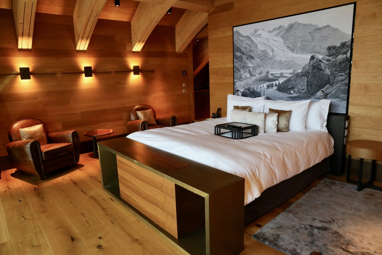 A luxurious Swiss Alpine-inspired suite at Chedi Andermatt.