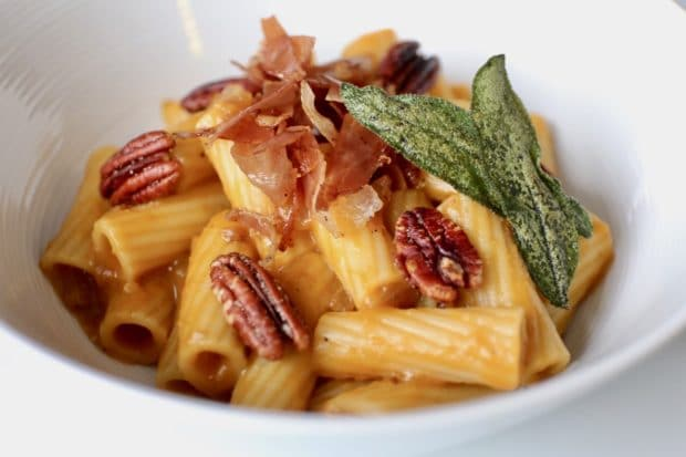 Rigatoni with Fried Sage, Roasted Pecans, Prosciutto and Pumpkin Velouté