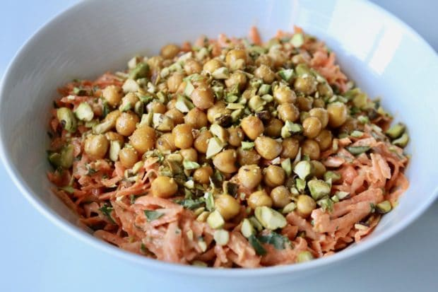 Carrot and Tahini Salad with Crispy Cumin Chickpeas and Pistachios