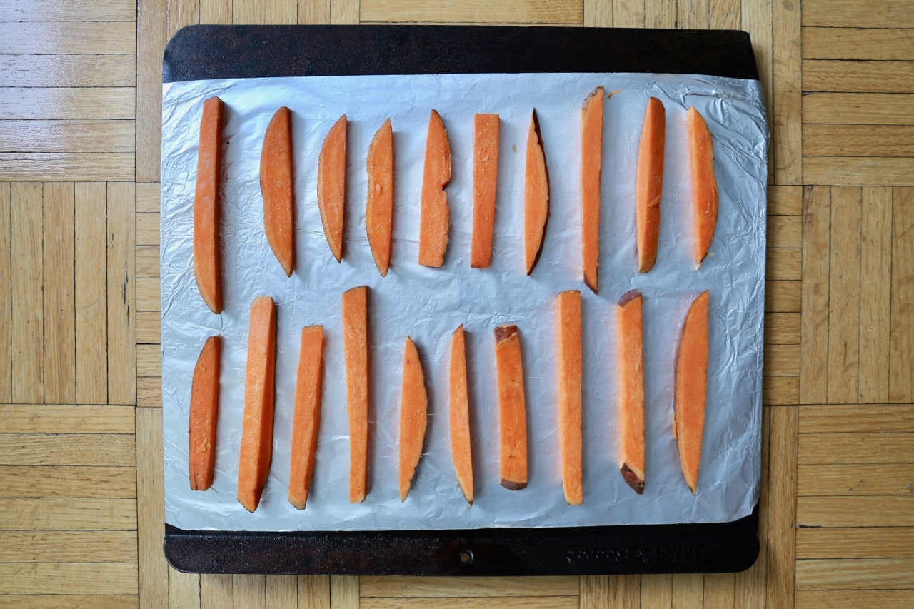 Healthy Oven Baked Sweet Potato Fries ready to go in the oven.