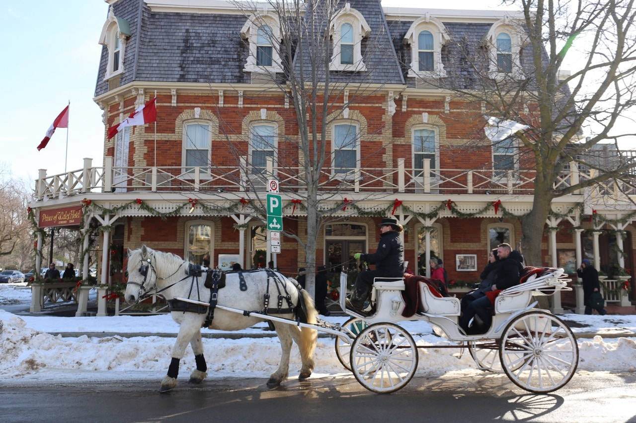 Enjoy a scenic carriage ride of Niagara on the Lake's historic district on a sunny winter day.
