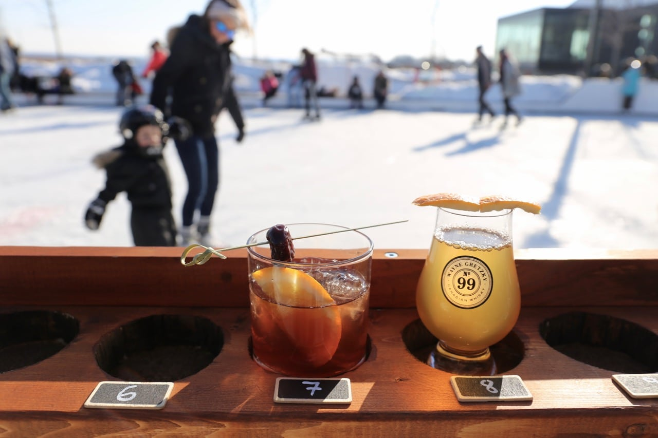 Niagara on the Lake Winter: Enjoy a cocktail and skate on the rink at Wayne Gretzky Estates.