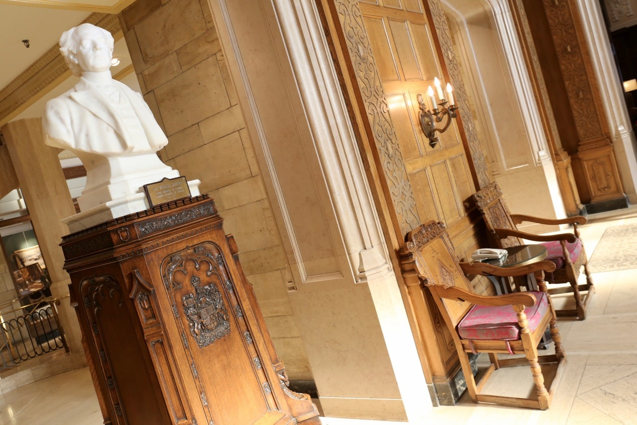 A bust of Sir Wilfrid Laurier in the lobby at Fairmont Ottawa.